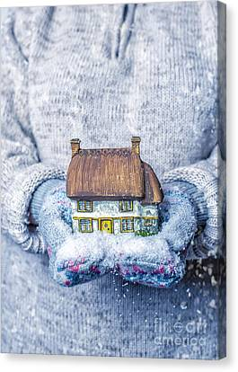 Cottage With Snowfall Canvas Print
