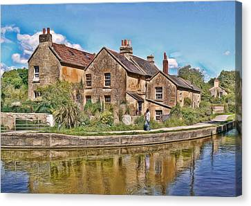 Canvas Print featuring the photograph Cottages At Avoncliff by Paul Gulliver
