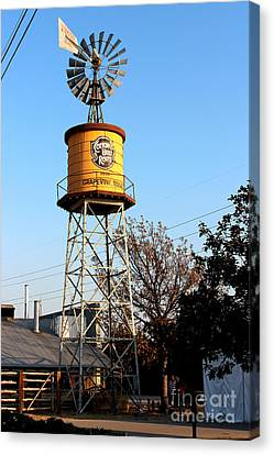 Cotton Belt Route Water Tower In Grapevine Canvas Print by Kathy  White