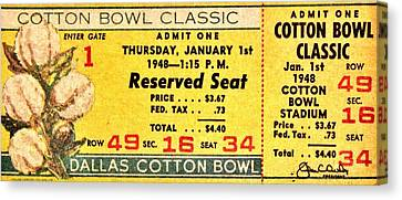 Cotton Bowl 1948 Canvas Print by Benjamin Yeager