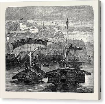 Cotton From India A Cotton Fleet Descending The Ganges Canvas Print by Indian School