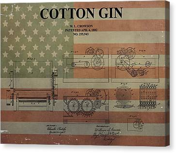 Cotton Gin Patent Aged American Flag Canvas Print