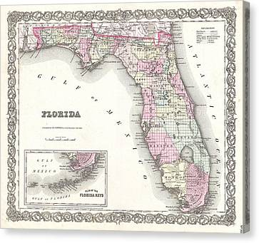 Cotton Map Of Florida 1855 Canvas Print by Suzanne Powers