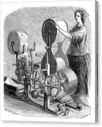 1874 Canvas Print - Cotton Textile Industry by Science Photo Library