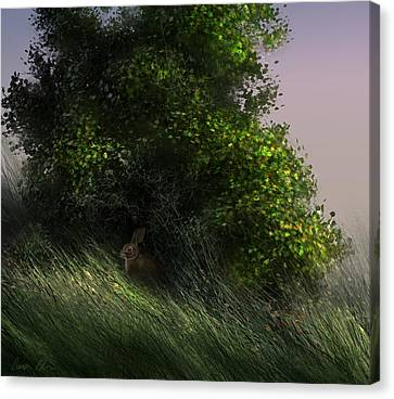 Canvas Print featuring the digital art Cottontail by Aaron Blaise