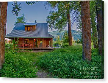 Cottonwood Cottage At Sunset Canvas Print