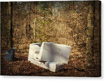 Tv Set Canvas Print - Couch And Tv In The Forest by Matthias Hauser
