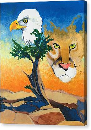 Cougar And Eagle Canvas Print by Sean Begaye