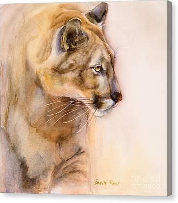 Canvas Print featuring the painting Cougar On The Prowl by Bonnie Rinier