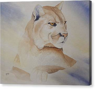 Canvas Print featuring the painting Cougar On Watch by Richard Faulkner