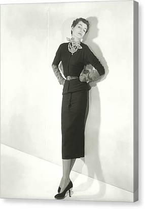 Countess Alain De La Falaise In A Sweater Dress Canvas Print by Horst P. Horst