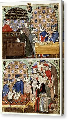 Counting House, 14th-century Manuscript Canvas Print