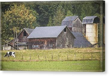 Canvas Print featuring the painting Country Art - Rustic Old Barns With Cow In The Pasture by Jordan Blackstone