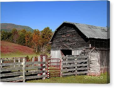 Rain Barrel Canvas Print - Country Barn by Jeff McJunkin