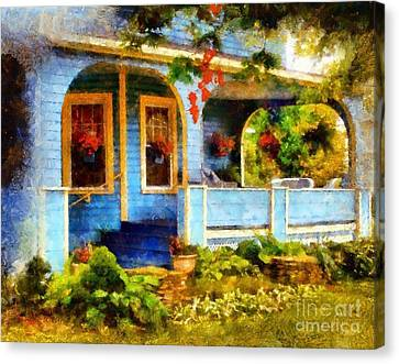 Charming Cottage Canvas Print - Country Blue Autumn Porch by Janine Riley