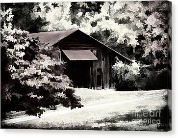 Country Charm In Dramatci Bw Canvas Print by Darren Fisher