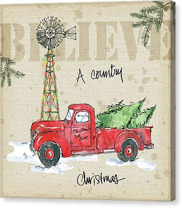 Christmas Lights Canvas Print - Country Christmas Iv by Anne Tavoletti