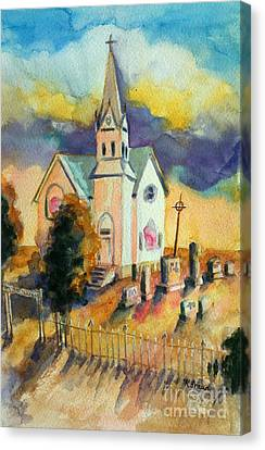 Country Church At Sunset Canvas Print by Kathy Braud