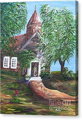 Canvas Print featuring the painting Country Church by Eloise Schneider