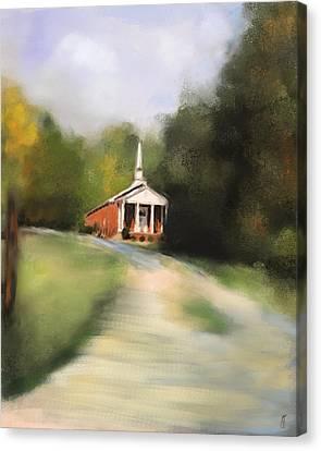 Country Church Canvas Print by Jai Johnson