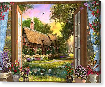 Canvas Print featuring the drawing Country Cottage View by Dominic Davison