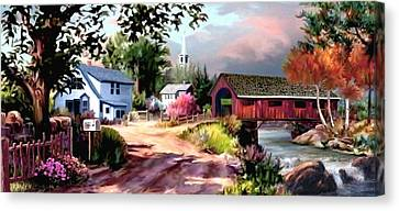 Country Covered Bridge 2 Canvas Print by Ron Chambers