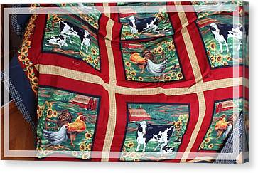 Country Cows And Roosters Quilt Canvas Print by Barbara Griffin