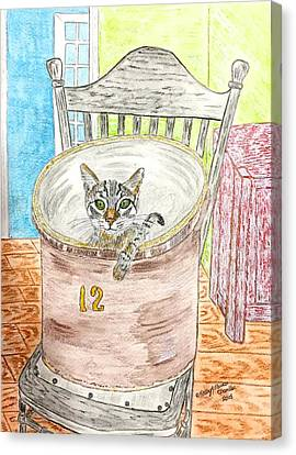 Country Crock Cat Canvas Print by Kathy Marrs Chandler