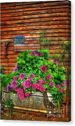 Lif Canvas Print - Country Flowers And Flag by Reid Callaway