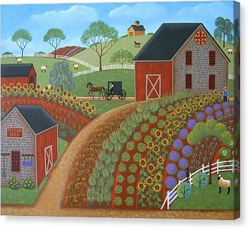 Amish Canvas Print - Country Garden by Mary Charles
