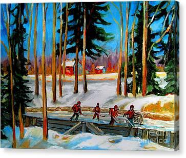 Country Hockey Rink Canvas Print by Carole Spandau