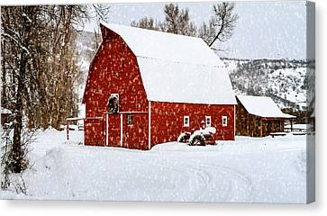 Country Holiday Barn Canvas Print by Teri Virbickis