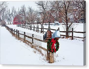 Snow-covered Landscape Canvas Print - Country Holiday Cheer by Teri Virbickis