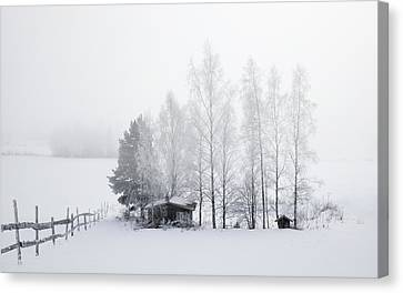 Country Home For Winter Canvas Print by Daniel Hagerman