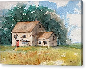 Canvas Print featuring the painting Country Home With The Red Door by Rebecca Davis