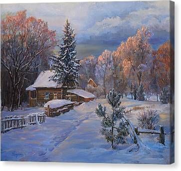 Country House In Winter Canvas Print