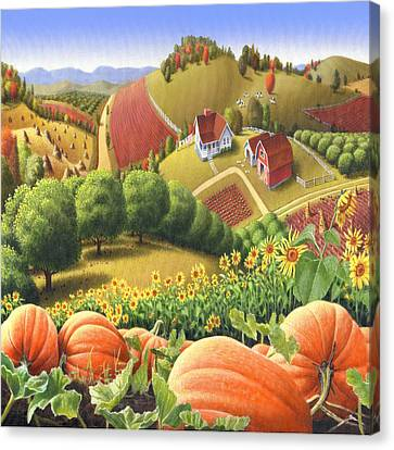 Country Landscape - Appalachian Pumpkin Patch - Country Farm Life - Square Format Canvas Print by Walt Curlee