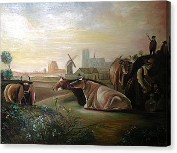 Country Landscapes With Cows Canvas Print by Egidio Graziani