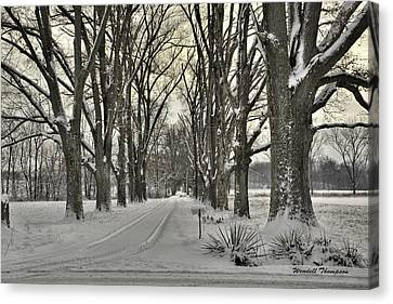 Country Lane In Winter Canvas Print by Wendell Thompson