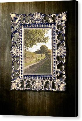 Country Lane Reflected In Mirror Canvas Print by Amanda Elwell