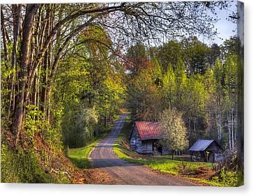 Tn Barn Canvas Print - Country Lanes by Debra and Dave Vanderlaan