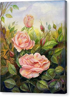 Canvas Print featuring the painting Country Living Rose by Patricia Schneider Mitchell