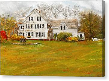 Country Moments-farmhouse In Woodstock Vermont Canvas Print by Lourry Legarde
