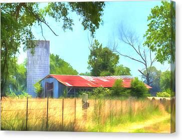 Barn - Farm - Fence - Country Morning Canvas Print by Barry Jones