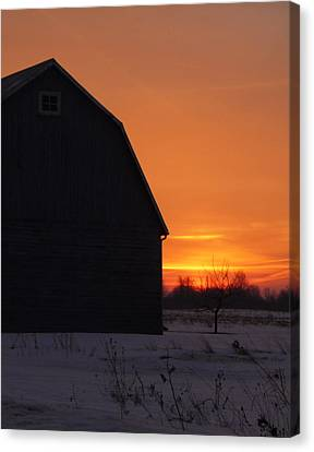 Country Morning In Winter Canvas Print by Heather Allen