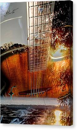 Country Music Digital Guitar Art By Steven Langston Canvas Print by Steven Lebron Langston