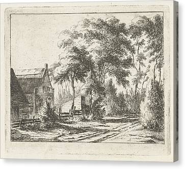 Country Road At A Farm, Print Maker Jacobus Cornelis Gaal Canvas Print by Artokoloro