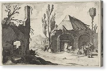 Country Road At A Ruin And An Inn, Gillis Van Scheyndel Canvas Print