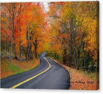 Canvas Print featuring the painting Country Road In Autumn by Bruce Nutting