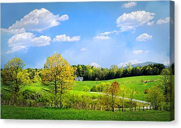 Country Road In Blue Ridge Canvas Print by Debra and Dave Vanderlaan